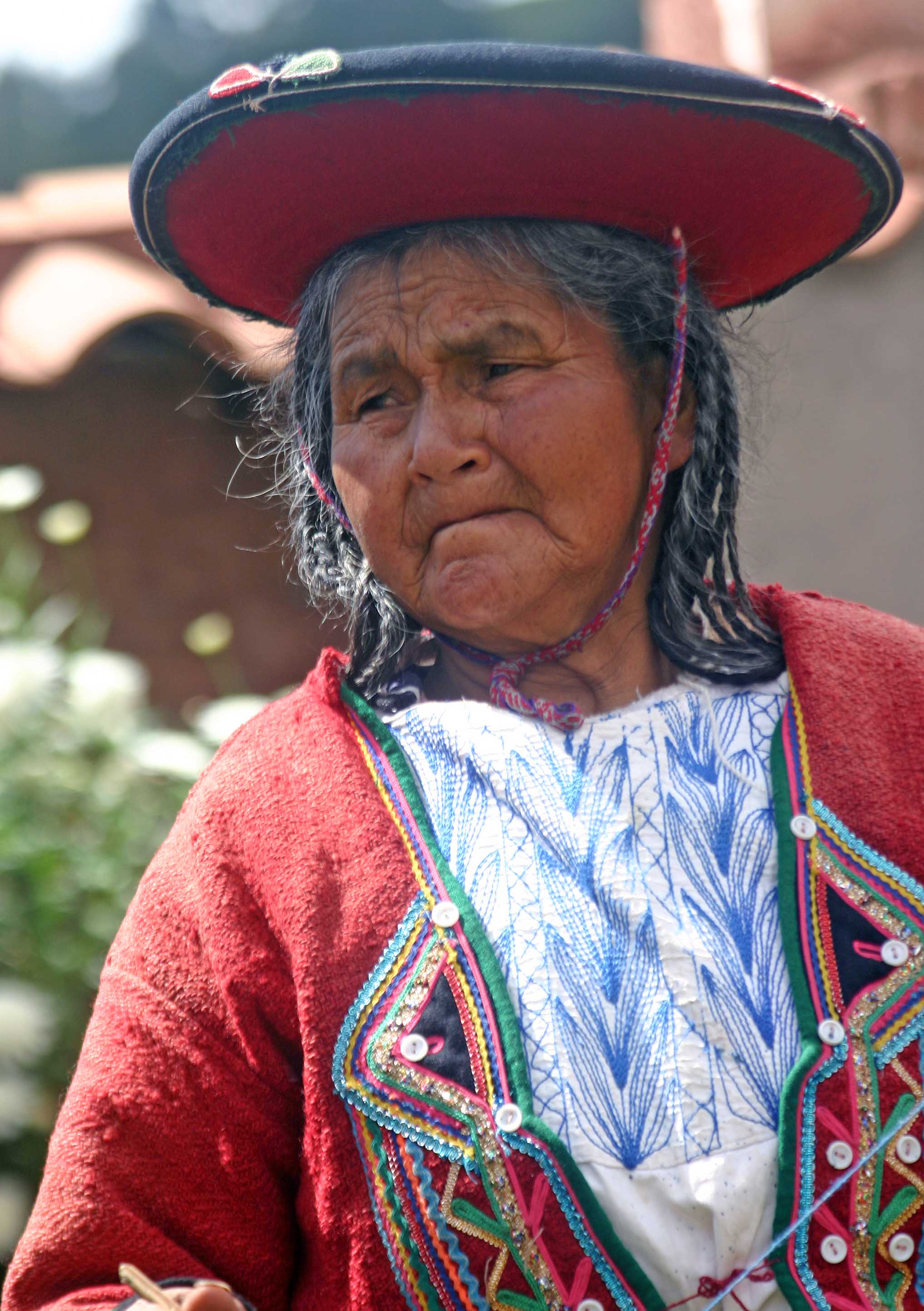 Portrait of a quetchua woman andes mts peru