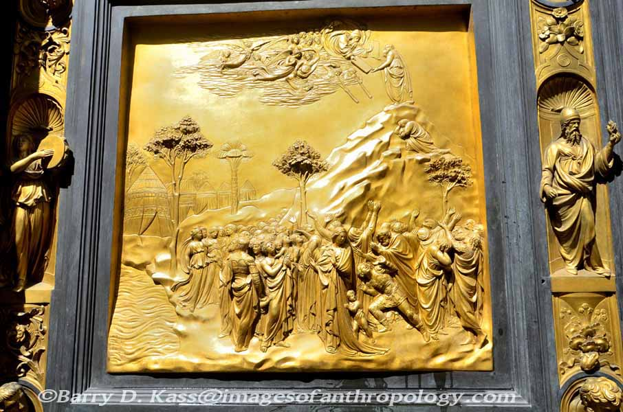 Closeup of a panel the Bronze Doors of Paradise the Baptistry Florence & Florence and Rome Italy Pezcame.Com