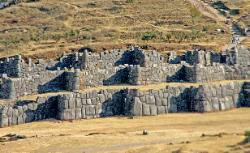 Massive Inca stone walls of the fortress of Sacsayhuaman