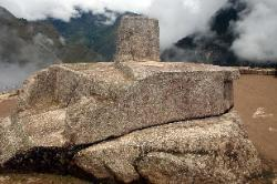 Intihuatana, the hitching post of the Sun, Machu Picchu, Andes Mts, Peru