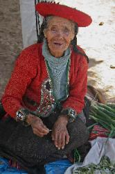 Old woman at the Chinchero market selling coca leaves, Andes Mts