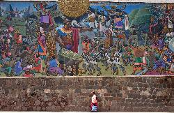Wall mural of the Inca civilization, Cusco, Peru