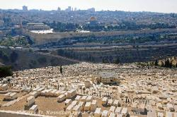View of old Jerusalem from the Mount of Olives, Israel