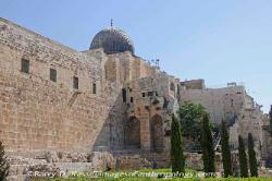 Walls of old Jerusalem with the dome of the Al Aqsa mosque, Israel
