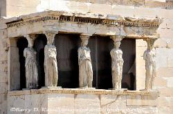 The Caryatid statues in the Erechtheion on the Acropolis in Athens