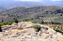 Mycenae with olive groves in the background