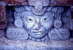 Female face, Zapotec tomb in the valley of Oaxaca, Mexico