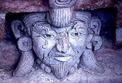 Male face, Zapotec tomb, valley of Oaxaca, Mexico